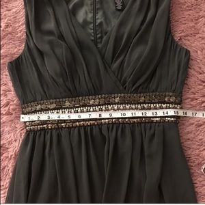 JS Boutique Dresses - Sleeveless Olive Green Beaded Cocktail Dress